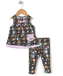 Happi by Dena Multicolour Floral Print Tee & Leggings - Black