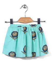 Little Coogie Short Skirt With Flower Print - Green