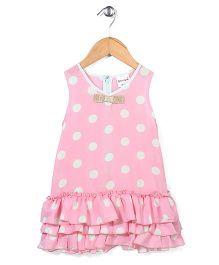 Candy Hearts Dot Print Dress - Light Pink
