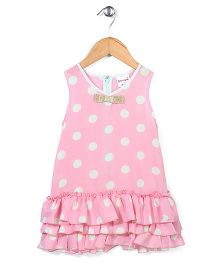 Candy Hearts Dot Print Dress - Light Pink