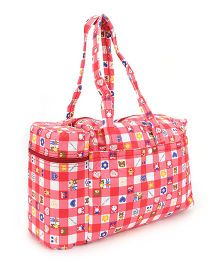 Mee Mee Nursery Bag With Insulated Bottle Holder Heart & Floral Print - Red