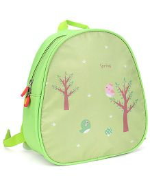 The Eed Bird & Trees Print School Backpack - Green