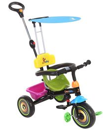 Sunbaby Tricycle With Push Handle - Black Pink Green
