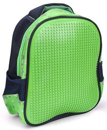 The Eed Star & Dot Print Design School Bag Blue & Green - 11 inch