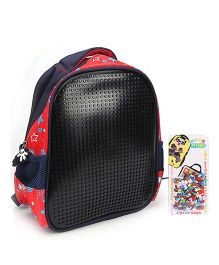 The Eed Star & Dot Print Design School Bag Black & Red - 11 inch