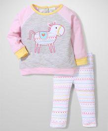 Happi by Dena Attractive Top & Leggings Set - Pink & Grey