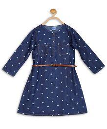 612 League Full Sleeves Heart Print Denim Dress With Belt - Blue