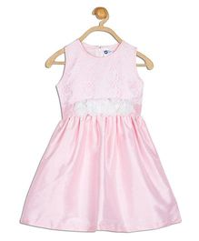 612 League Sleeveless Party Frock Floral Appliques - Pink