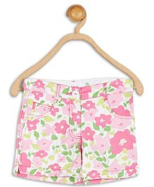 612 League Cotton Floral Printed Shorts - White & Pink