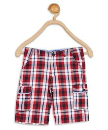 612 League Knee Length Check Print Cargo Shorts - Red