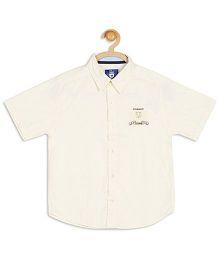 612 League Solid Chambray 2008 Print Half Sleeves Shirt - Light Yellow