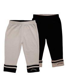 Lil Penguin Organic Cotton Trousers - White Black