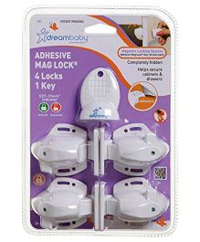 Dreambaby Adhesive Mag Lock 4 Locks and 1 Key - White