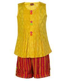 Twisha Ethnic Long Top With Shorts - Yellow
