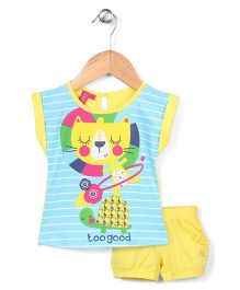 Mickey Half Sleeves Top and Shorts Set Too Good Print - Teal and Yellow