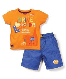 Mickey Half Sleeves T-Shirt and Shorts Set Drive Doodle Print - Orange and Blue