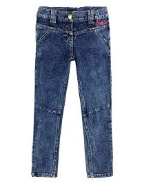 Barbie Full Length Knitted Denim Jeggings In Textured Towel Wash - Blue