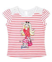 Barbie Cap Sleeves Glitter Graphic Print T-Shirt In Stripes - Coral And White
