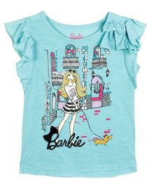 Barbie Flutter Sleeves Graphic T-Shirt - Miami Blue