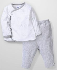 Candy Rush Fish Print Top & Pant Set - White & Grey