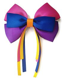 Keira's Pretties Cheer Bow Clip - Blue Pink & Purple