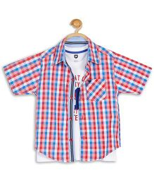 612 League Half Sleeves Shirt With T-Shirt - Red And White