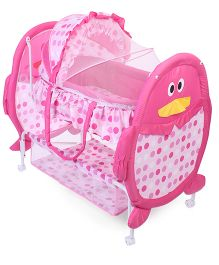 Baby Cradle With Mosquito Net Penguin Design And Polka Dots - Pink