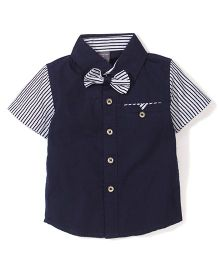 Little Star Striped Shirt With Bow - Navy Blue