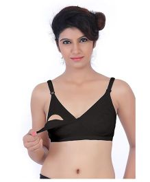 Fabme  Nursing Feeding Cotton Bra - Black