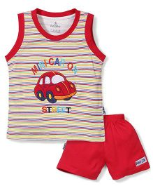 Child World Sleeveless T-Shirt And Shorts Set Car Embroidery - Red and Multi color