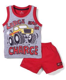 Child World Sleeveless T-Shirt And Shorts Vehicle Print - Grey Red