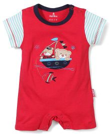 Child World Half Sleeves Romper Teddy Patch - Red