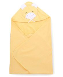 Child World Solid Color Teddy Patch Hooded Towel - Yellow