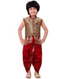Jeet Ethnics Sleeveless Kurta & Dhoti Set With Welt Pocket - Maroon