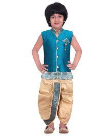 Jeet Ethnics Silk Blended Sleeveless Dhoti Kurta Set - Aqua Blue