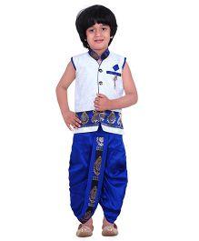Jeet Ethnics Silk Blended Sleeveless Dhoti Kurta Set - White & Blue