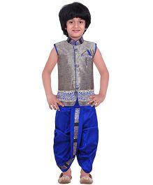 Jeet Ethnics Silk Blended Sleeveless Dhoti Kurta Set - Grey & Royal Blue
