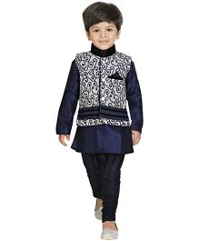 Jeet Ethnics Silk Blended Designer Jacket Kurta And Breeches Set - Navy Blue