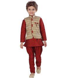 Jeet Ethnics Silk Blended Jacket Kurta And Breeches Set - Beige & Maroon
