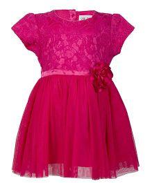 Soul Fairy Lace Yoke Net Dress With Corsage  - Fuschia