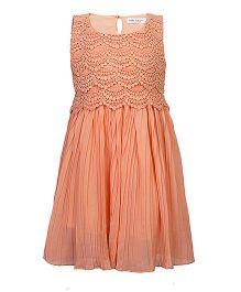 Soul Fairy Lace Yoke Pleated Dress - Peach