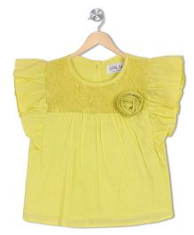 Soul Fairy Flutter Sleeves Top - Lime Green