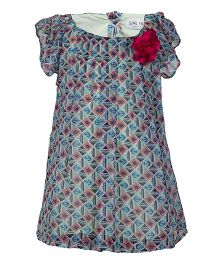 Soul Fairy Nautical Pleated Front Tunic With Corsage - Blue