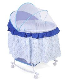 Rocking Bassinet With Mosquito Net Polka Dot Print Blue - 720