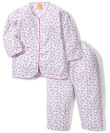 Yellow Duck Full Sleeves Night Suit Floral Print - White Pink