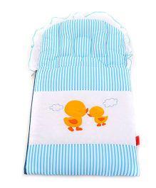 Sapphire Carry Nest Cum Sleeping Bag With Inbuilt Pillow Duckling Design - Blue