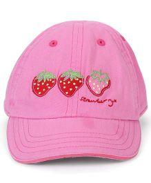 Little Wonder Strawberry Print Cap - Pink
