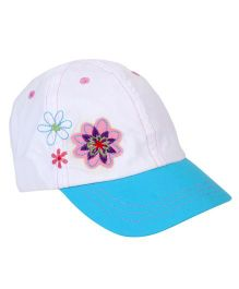 Little Wonder Flower Embroidered Cap - White & Blue