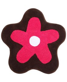 Saral Home Premium Quality Bath Mat Flower Shape - Brown And Pink