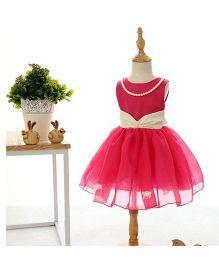Peach Giirl Party Dress - Red
